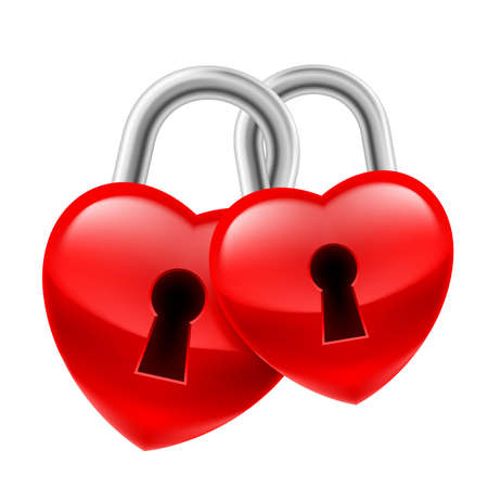 locks: Red heart locks with keyholes chained together as symbol of strong love