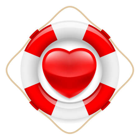 symbols metaphors: Red glossy heart in safety ring. Metaphor of love or life saving Illustration