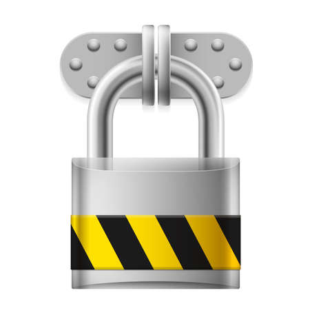 rivet: Metal padlock with yellow and black striped sign on white Illustration