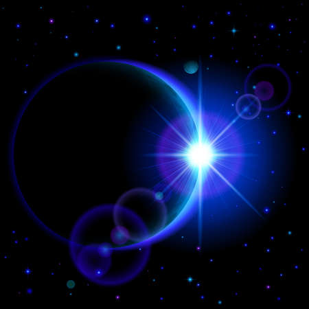 astro: Space background. Dark planet with blue radiance and bright flare among stars and other planets Illustration