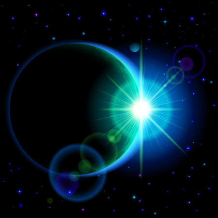 Space background. Dark planet with cyan radiance and bright flare among stars and other planets Illustration
