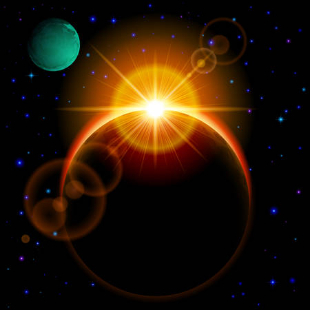 other space: Space background. Dark planet with yellow radiance and bright flare among stars and other planets