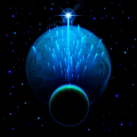 dark skies: Space background. Big blue planet and small one with star shower and bright flare