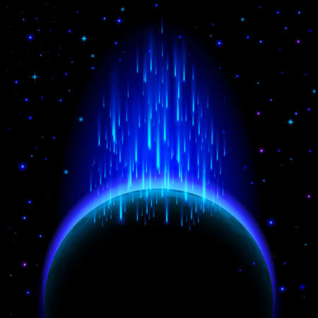 radiance: Space background. Dark planet with blue radiance and star shower Illustration