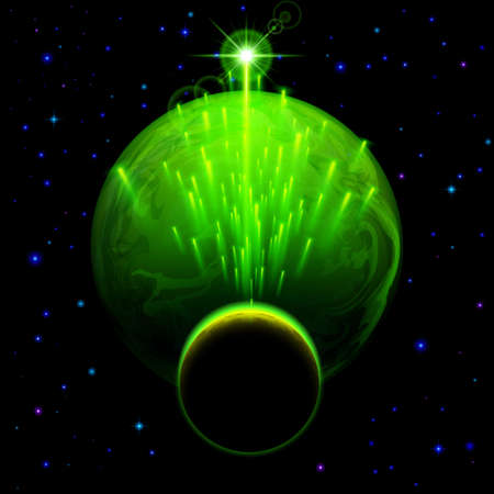 meteor shower: Space background. Big green planet and small one with star shower and bright flare Illustration