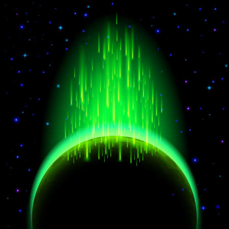 radiance: Space background. Dark planet with green radiance and star shower