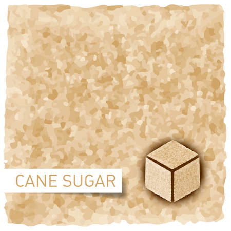 sugar cube: Brown sugar background. Textured backdrop and cane sugar cube