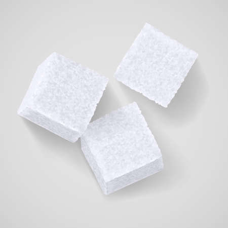 Three white sugar cubes with shadow on grey background Illusztráció