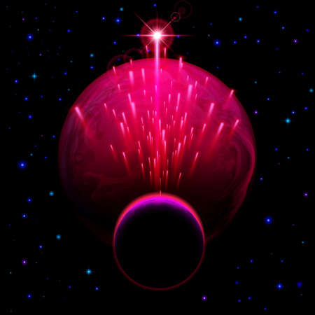 meteor shower: Space background. Big red planet and small one with star shower and bright flare