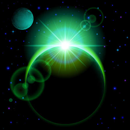 radiance: Space background. Dark planet with green radiance and bright flare in universe