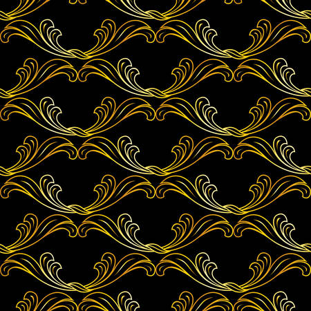 Golden floral pattern in classic style on black background  Vector