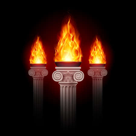 Three ancient columns with fire blazing in darkness. Mystic illustration