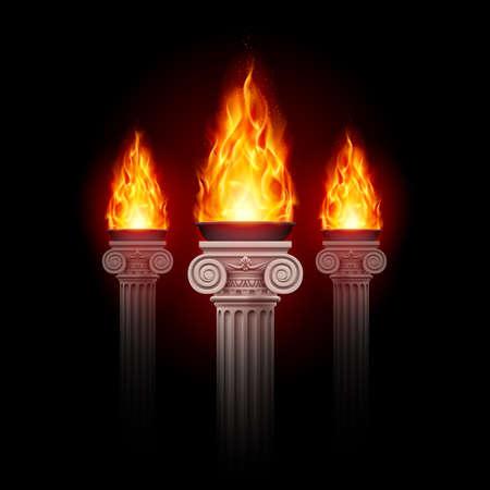 alight: Three ancient columns with fire blazing in darkness. Mystic illustration