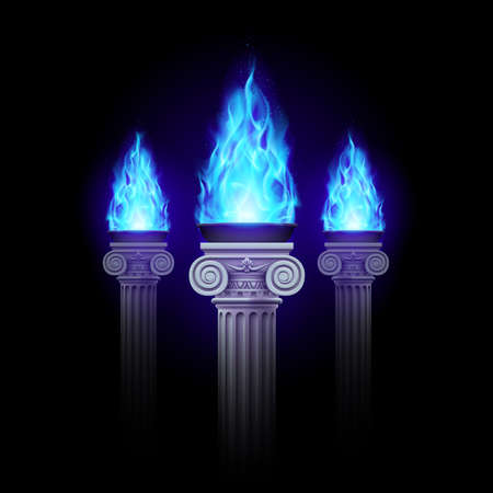 torch flame: Three ancient column with blue fire blazing in darkness. Mystic illustration