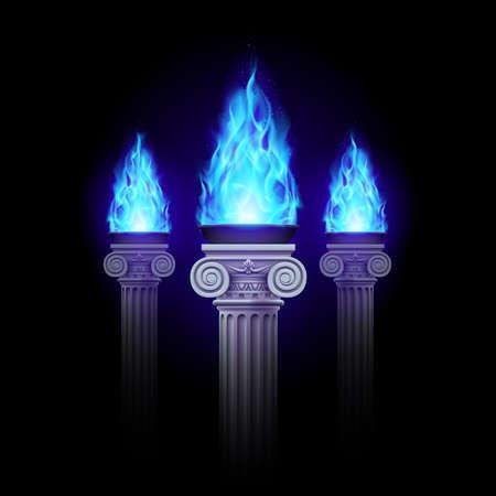 mystic: Three ancient column with blue fire blazing in darkness. Mystic illustration