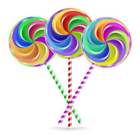 The colorful lollipops on striped sticks over white