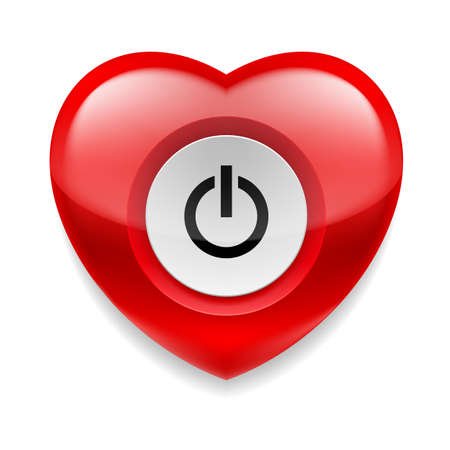 live feeling: Shiny red heart with power button on white background. Love or health concept