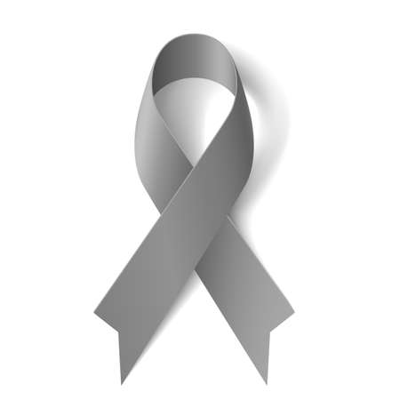 Grey ribbon as symbol of borderline personality disorder, diabetes, asthma and brain cancer awareness