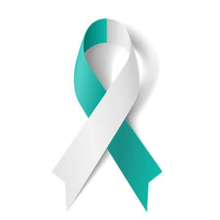 attribute: Blauwgroen en wit lint als symbool van baarmoederhalskanker Stock Illustratie