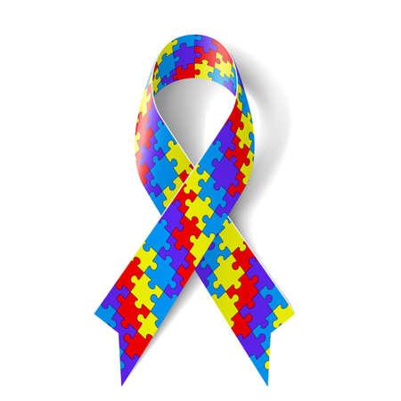 シンボルの自閉症の意識としてカラフルなパズル リボン  イラスト・ベクター素材