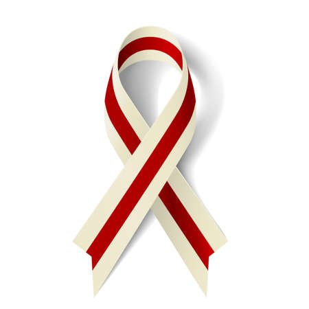 burgundy ribbon: Burgundy and ivory ribbon as symbol of Head and Neck Cancer