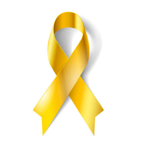 badge ribbon: Gold ribbon as symbol of childhood cancer awareness