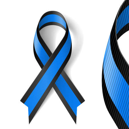 melanoma: Blue and black awareness ribbon as symbol of ocular melanoma