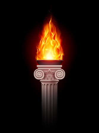 Ancient column with fire blazing in darkness. Mystic illustration