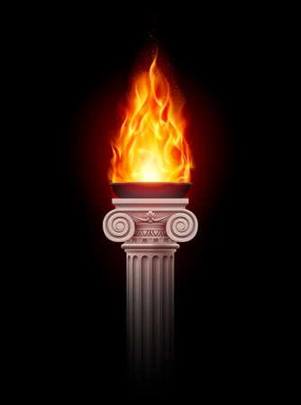 Antica colonna con il fuoco ardente nel buio. Illustrazione Mystic Archivio Fotografico - 28101669
