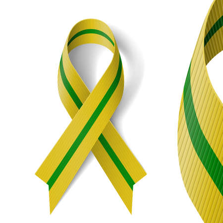 Olive-green ribbon devoted to 65 anniversary of liberation of Leningrad from Nazi block during World War II