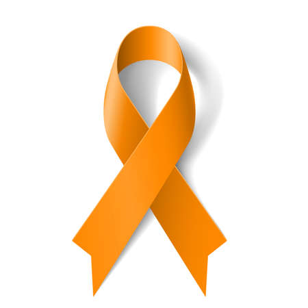 silk ribbon: Orange ribbon as symbol of  Animal Abuse, leukemia awareness, kidney cancer association