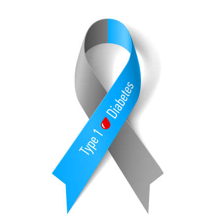 Gray and blue ribbon with blood drop as symbol of diabetes
