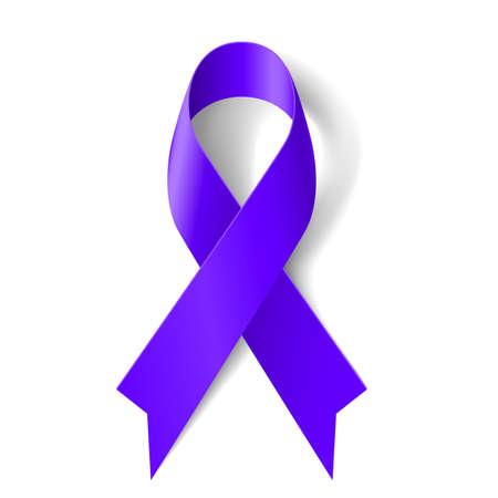 Cinta púrpura como símbolo de la conciencia general del cáncer, sobredosis de drogas, la violencia doméstica, la enfermedad de Alzheimer