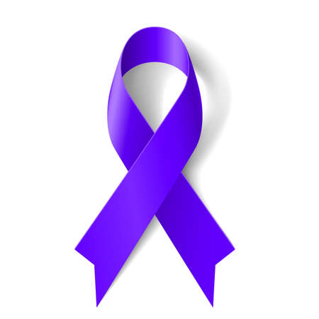 cancer drugs: Purple ribbon as symbol of general cancer awareness, drug overdose, domestic violence, Alzheimer disease
