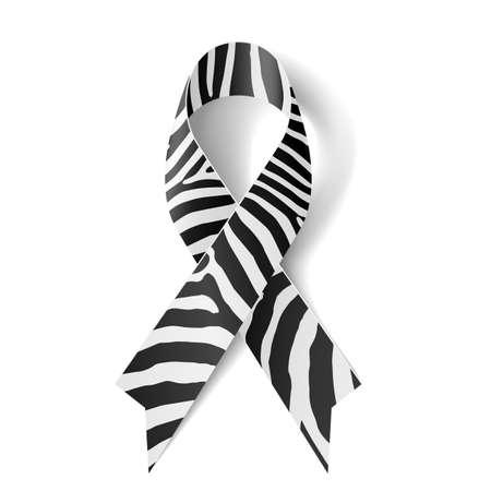 ruban noir: Ruban imprimé zèbre comme symbole de la sensibilisation à la maladie rare, le syndrome d'Ehlers-Danlos