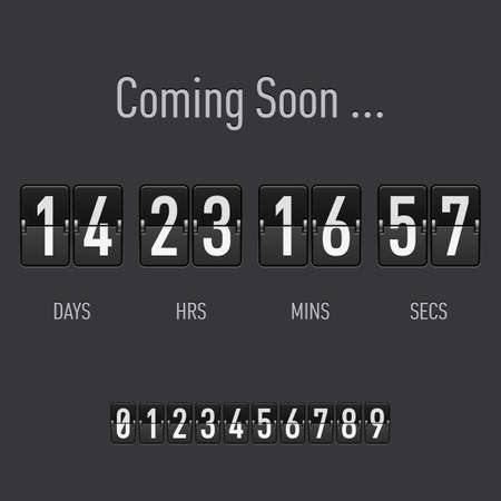Coming soon text with days and hours countdown in flip font Ilustrace