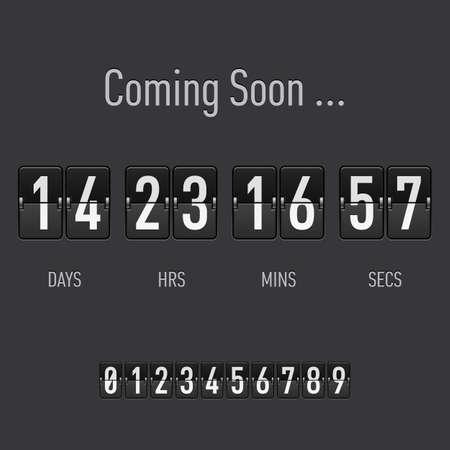 Demnächst mit Tagen und Stunden-Countdown in Flip Schrift Text Standard-Bild - 28157415