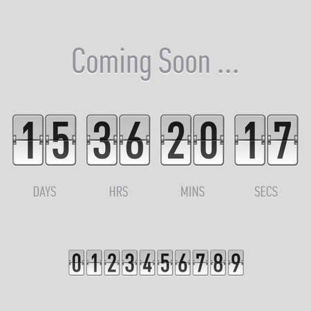 Coming soon text with days and hours countdown in flip font over grey Vector