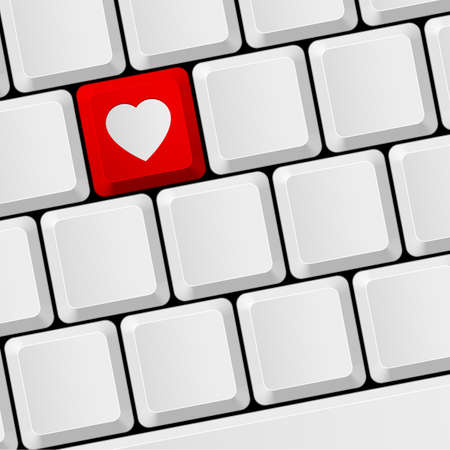 internet dating: Computer keyboard with red heart button. Virtual love Illustration