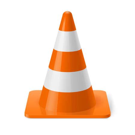 torres de alta tension: Blanco y naranja cono del camino. Señal de seguridad utilizado para prevenir accidentes durante la construcción de carreteras