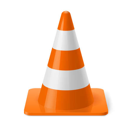 White and orange road cone. Safety sign used to prevent accidents during road construction