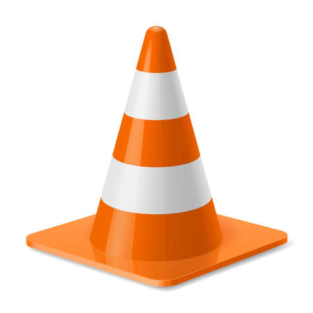 traffic pylon: White and orange traffic pylon. Safety sign used to prevent accidents during road construction