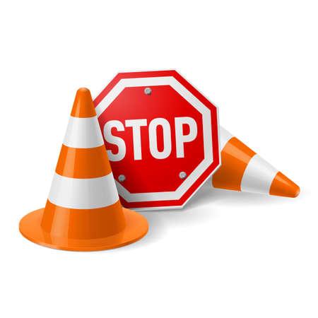Conos de tráfico y señal de stop de color rojo. La seguridad vial y la prevención de accidentes durante la construcción de carreteras Foto de archivo - 28157424