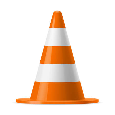 pylon: White and orange road pylon. Sign used to provide safe traffic during road construction Illustration