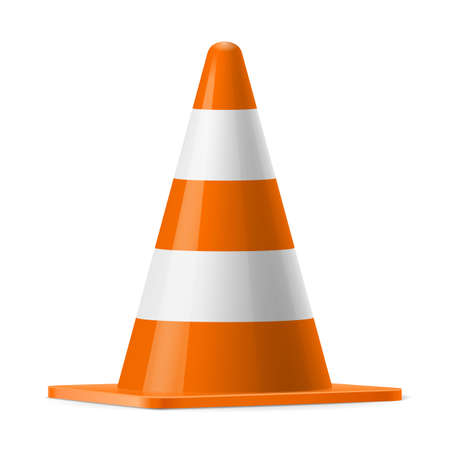 traffic cone: White and orange traffic cone.  Sign used for road safey during construction or accidents Illustration