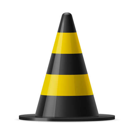 traffic pylon: Black and yellow traffic pylon. Sign used for road safey during construction or accidents