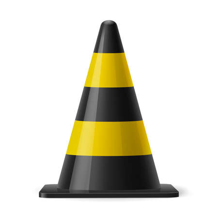 attention icon: Black and yellow traffic cone. Safety sign used for prevention of accidents during road construction