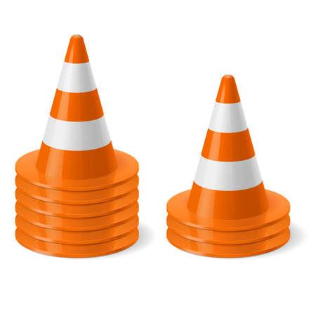 torres de alta tension: Los montones de de cono de tráfico. Señal de seguridad utilizado para prevenir accidentes durante la construcción de carreteras