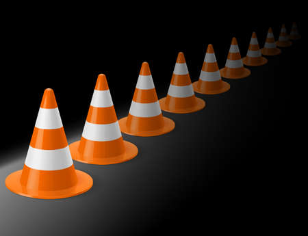 accident prevention: Row of white and orange traffic cones on black background. Safety sign used to prevent accidents during road construction Illustration