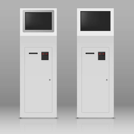 Two digital terminals with touchscreen for payment service Vector